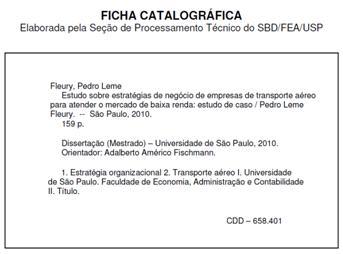 Procedimentos para a elaboração da Ficha Catalográfica de teses e dissertações defendidas na FEAUSP (2/2)