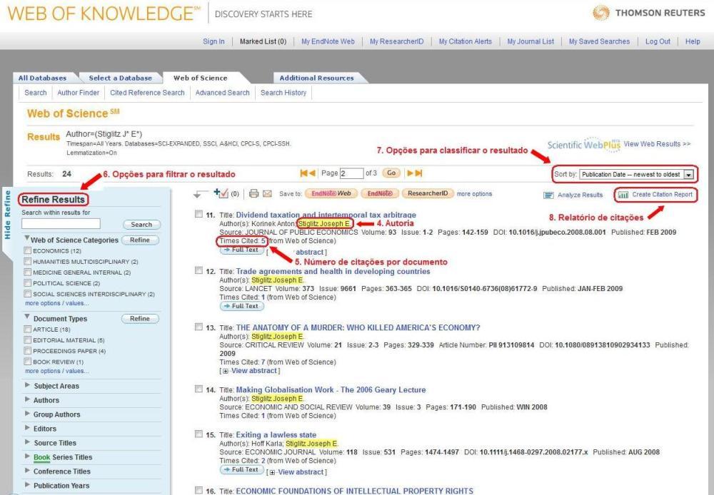 Como obter o índice h e o levantamento de citações: ISI Web of Knowledge (2/3)