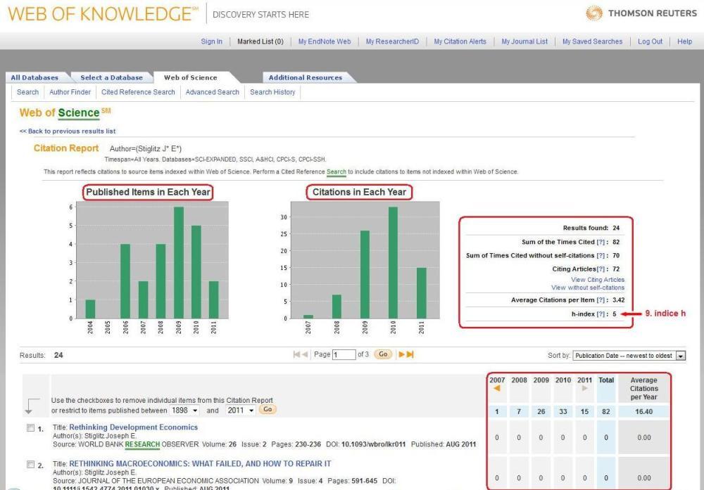 Como obter o índice h e o levantamento de citações: ISI Web of Knowledge (3/3)