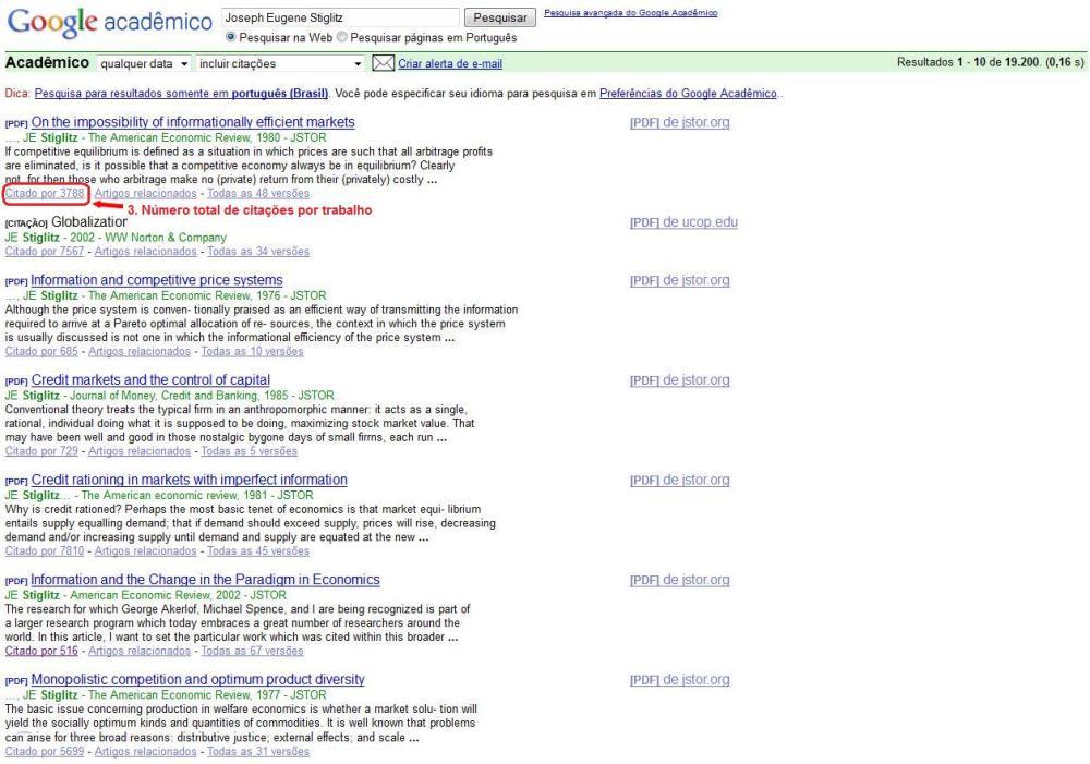 Como obter o levantamento de citações: Google Acadêmico (2/2)