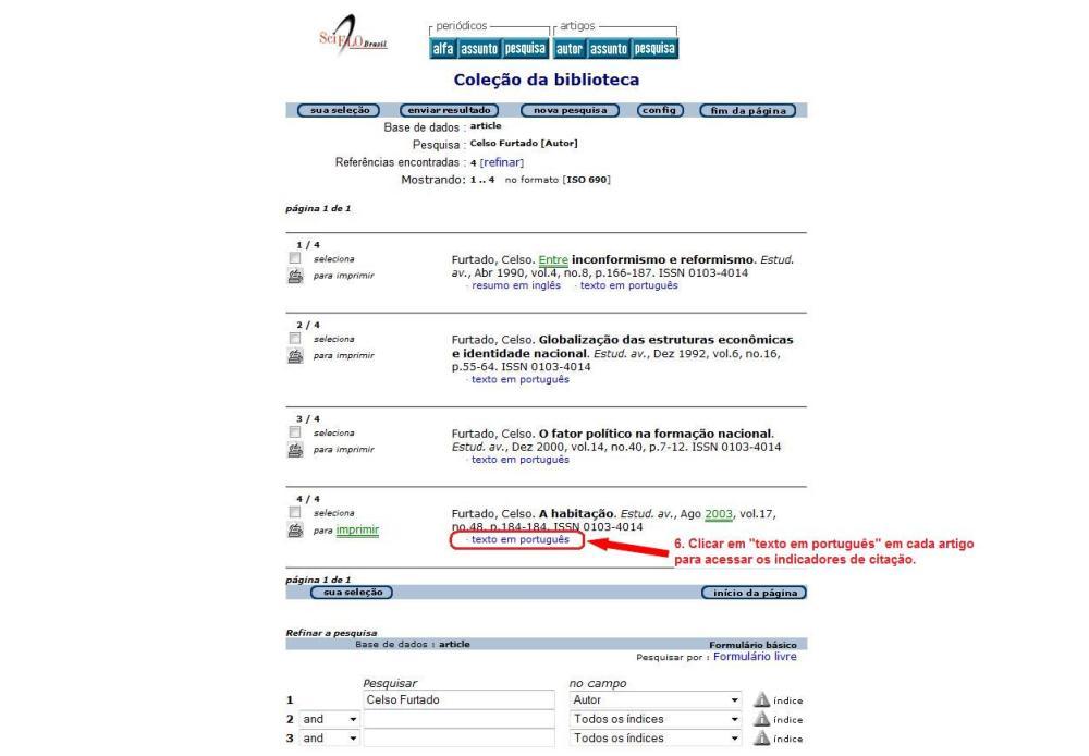 Como obter o índice h e o levantamento de citações: SciELO (3/5)