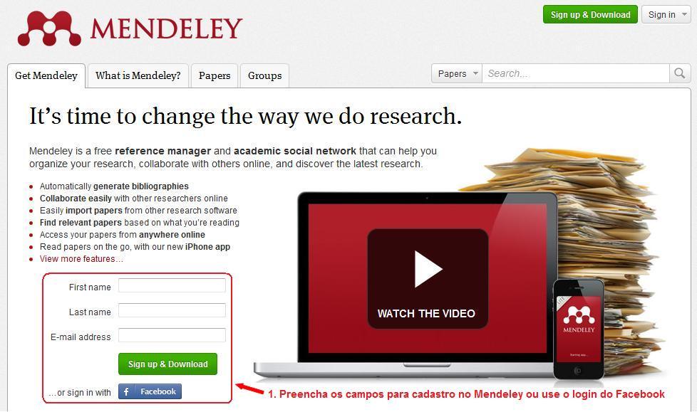 Como criar e iniciar sua biblioteca de pesquisas no Mendeley (1/6)