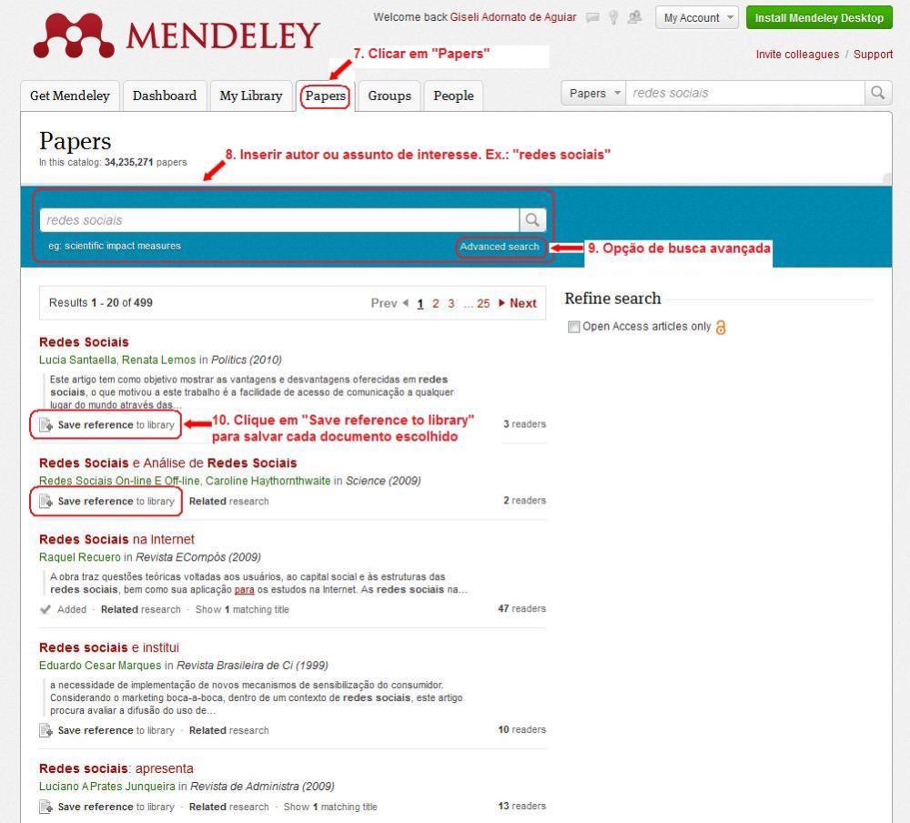 Como criar e iniciar sua biblioteca de pesquisas no Mendeley (5/6)
