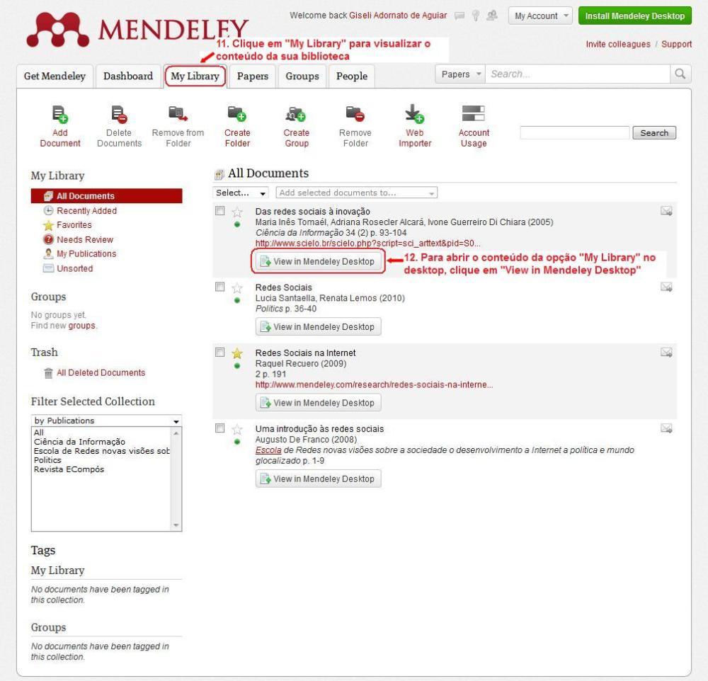 Como criar e iniciar sua biblioteca de pesquisas no Mendeley (6/6)