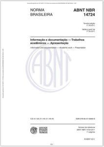 Exemplo da norma da ABNT NBR 14724:2011 - Informação e documentação - Trabalhos acadêmicos - Apresentação